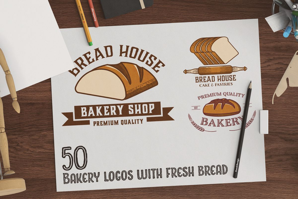 50 Bakery logos with fresh bread example image 1