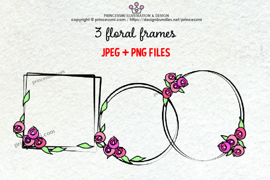Floral frame clipart set example image 1