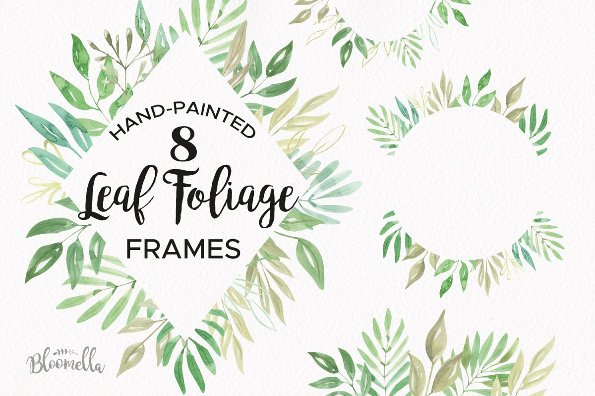 Leaf Foliage Frames 8 Watercolor Greenery Clipart Border Leaves Example Image