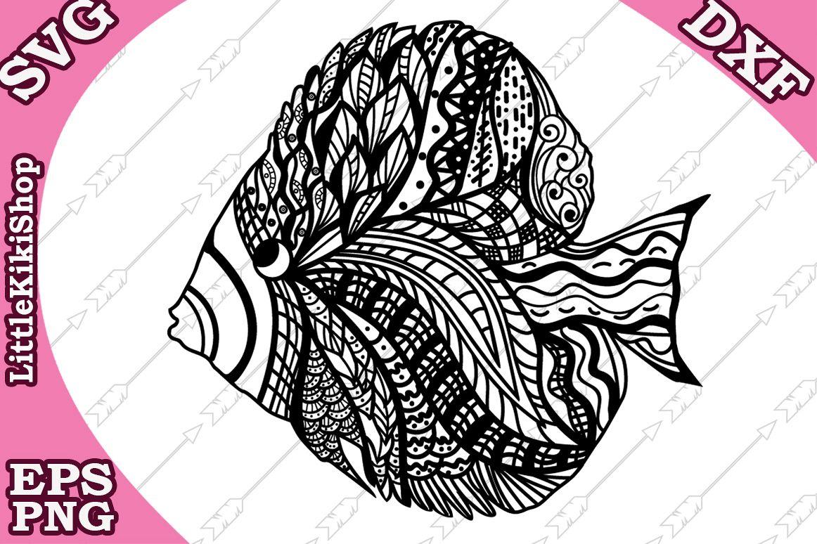 Zentangle Fish Svg,Mandala Fish Svg,Fish cut file,Sea Animal example image 1