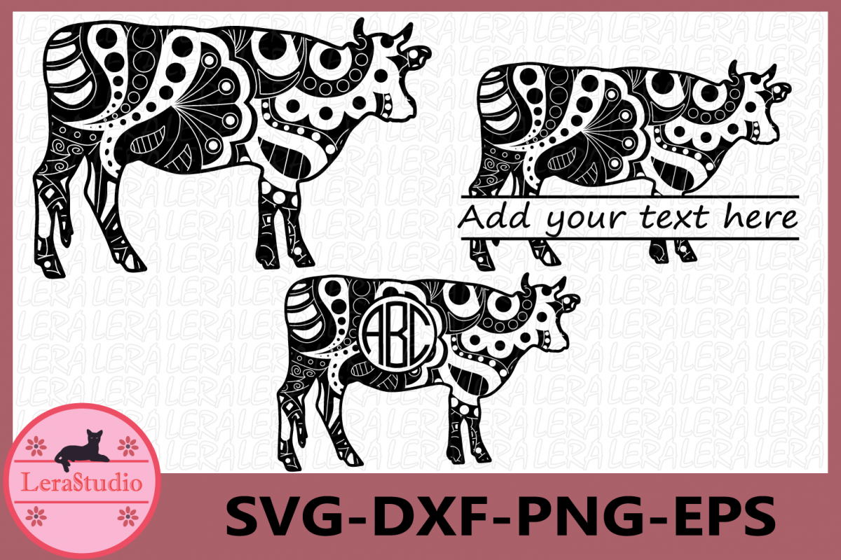Cow SVG, Farm svg, Animals, Cow Monogram svg, Cow Zentangle example image 1