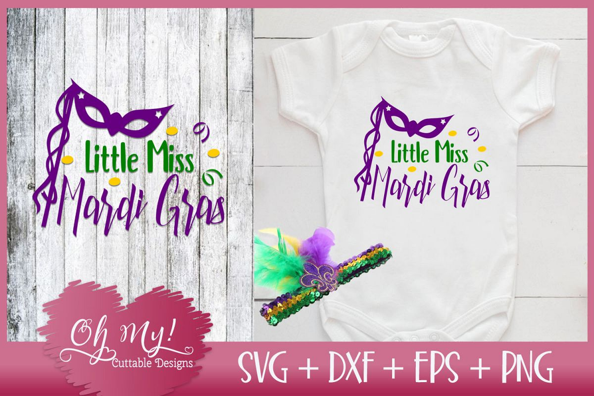 Little Miss Mardi Gras - SVG EPS DXF Cutting File example image 1
