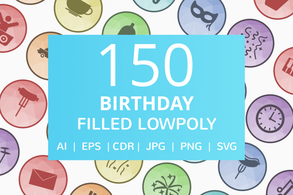150 Birthday Filled Filled Low Poly Icons example image 1