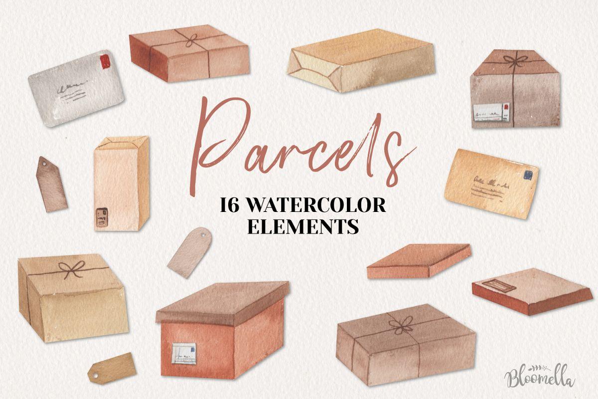 Parcels Watercolor 16 Elements Boxes Postage Letters Labels example image 1