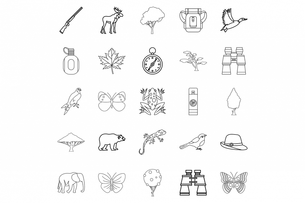 Wild territory icons set, outline style example image 1