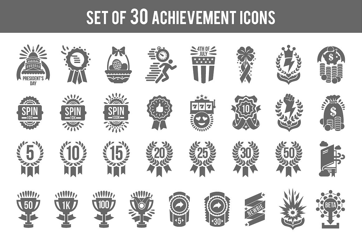 Set of achievement icons logo and badges for game design example image 1