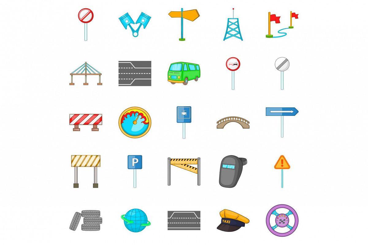 Bridgework icons set, cartoon style example image 1