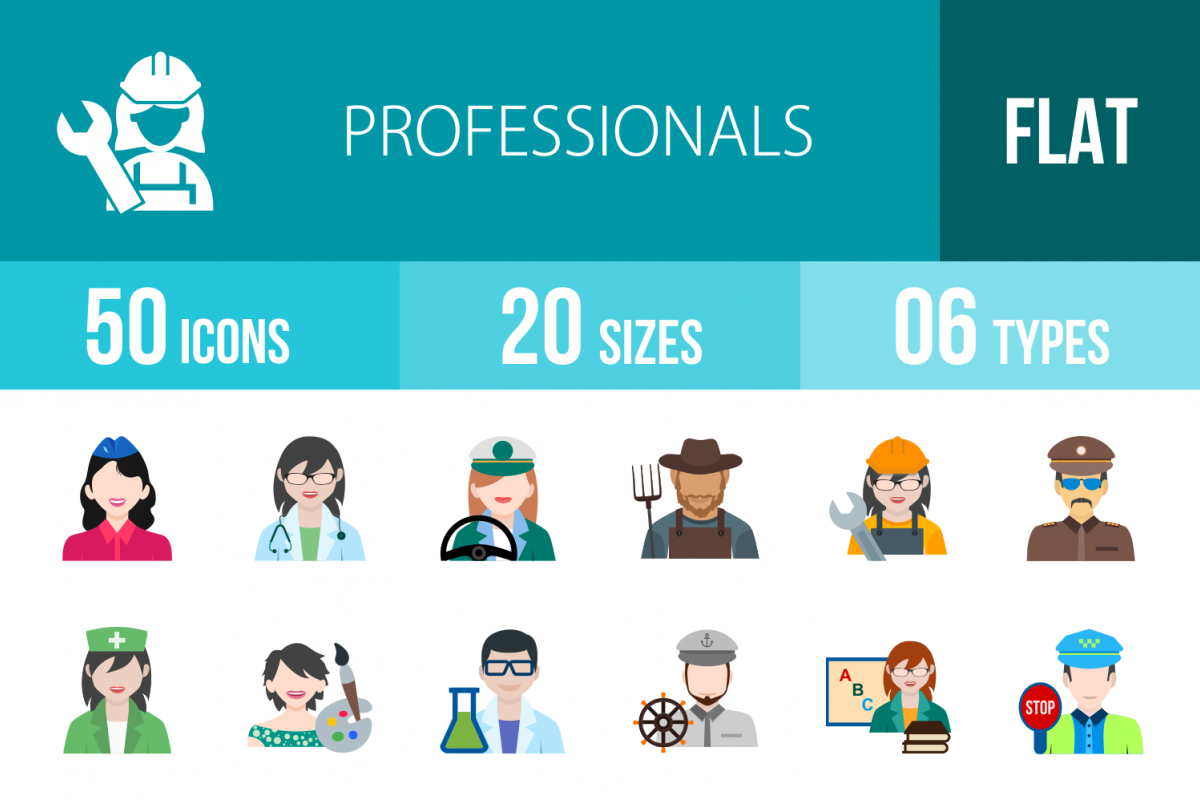 50 Professionals Flat Multicolor Icons example image 1