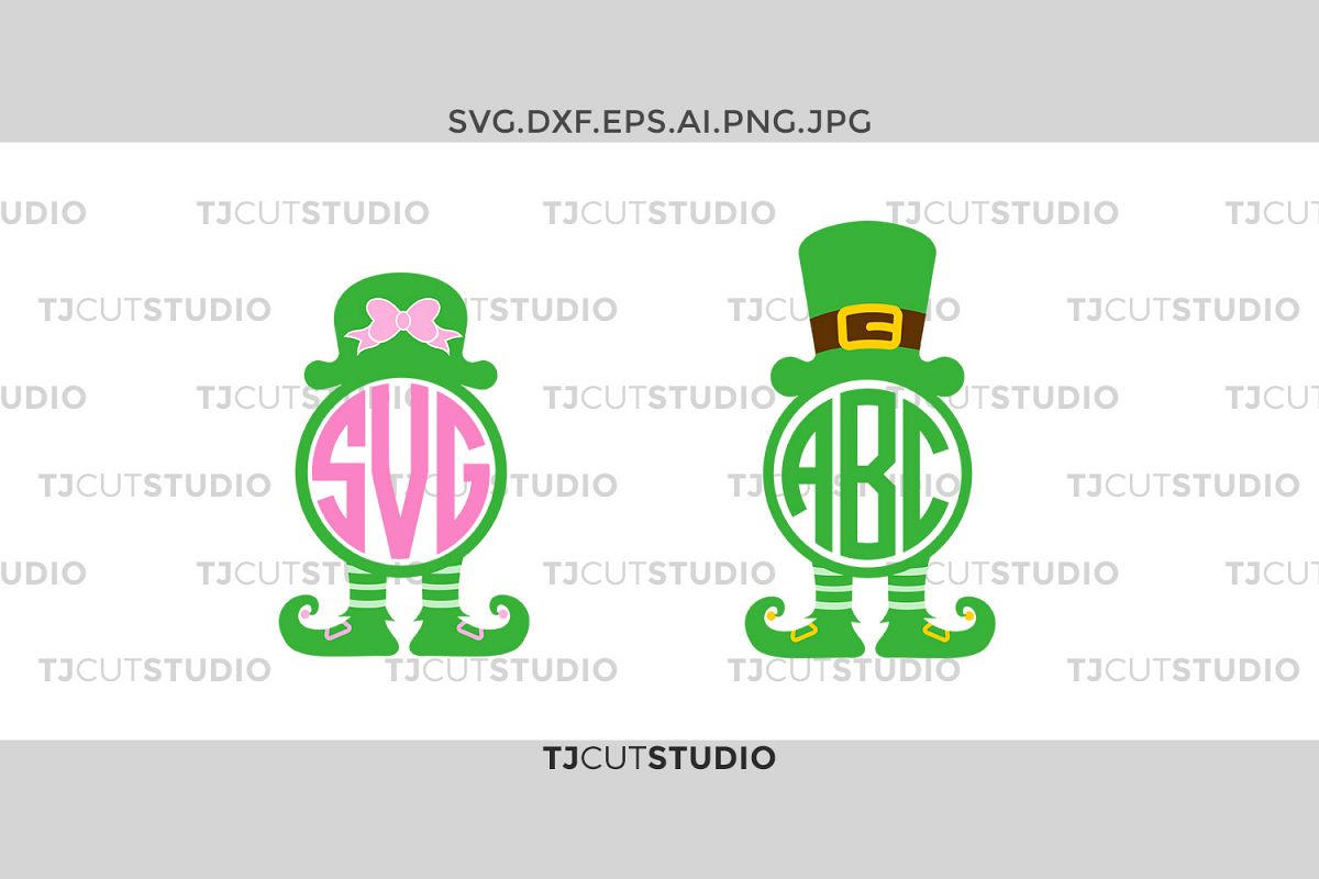 Leprechaun Monogram svg, St Patrick Monogram svg, Leprechaun Hat svg, Svg Files for Silhouette Cameo or Cricut, Commercial & Personal Use. example image 1