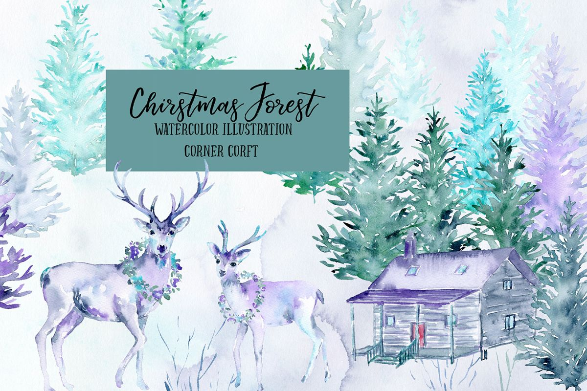 Watercolor Christmas Forest  example image 1