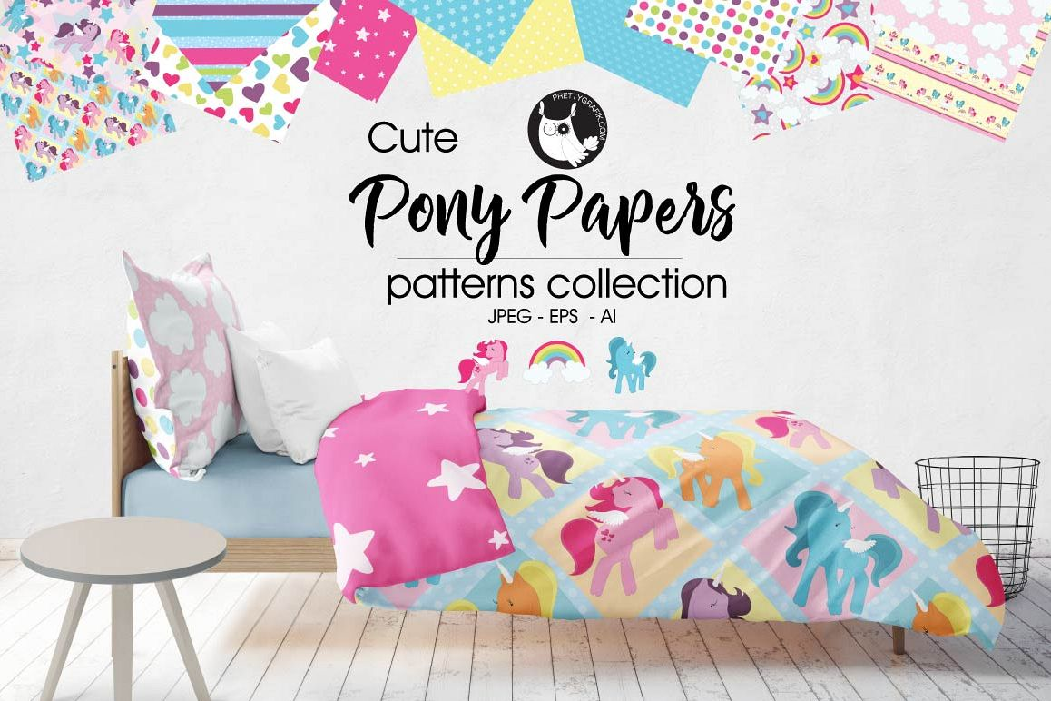 Pony papers, digital papers example image 1