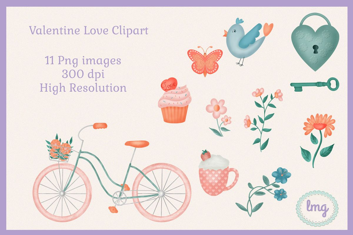 Valentine Love Clipart Sublimation example image 1