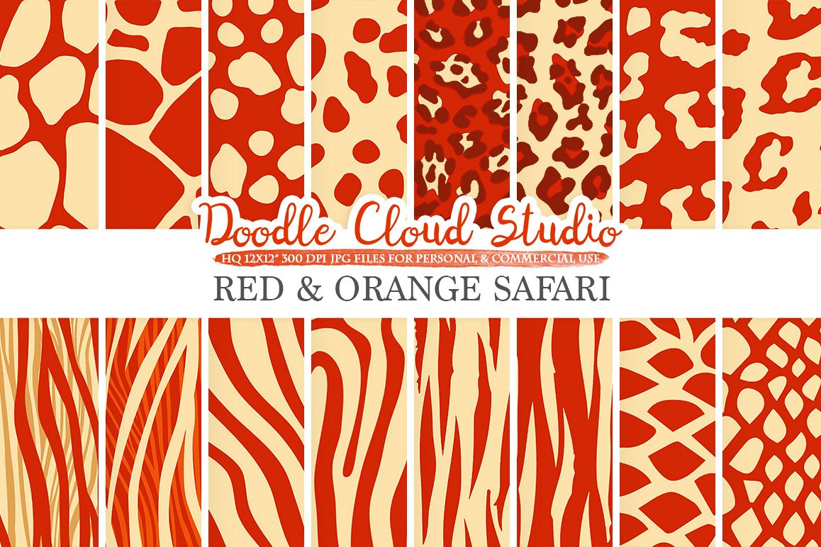 Red and Orange Animal Safari digital paper, Fur pattern, Giraffe Zebra Leopard Snake Tiger Gold backgrounds for Personal & Commercial Use example image 1