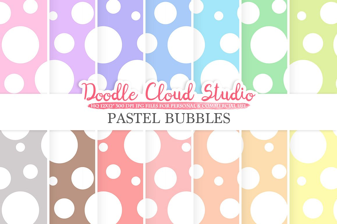 Pastel Bubbles digital paper, Dotted pattern, Digital Dots, pastel background, Instant Download for Personal & Commercial Use example image 1