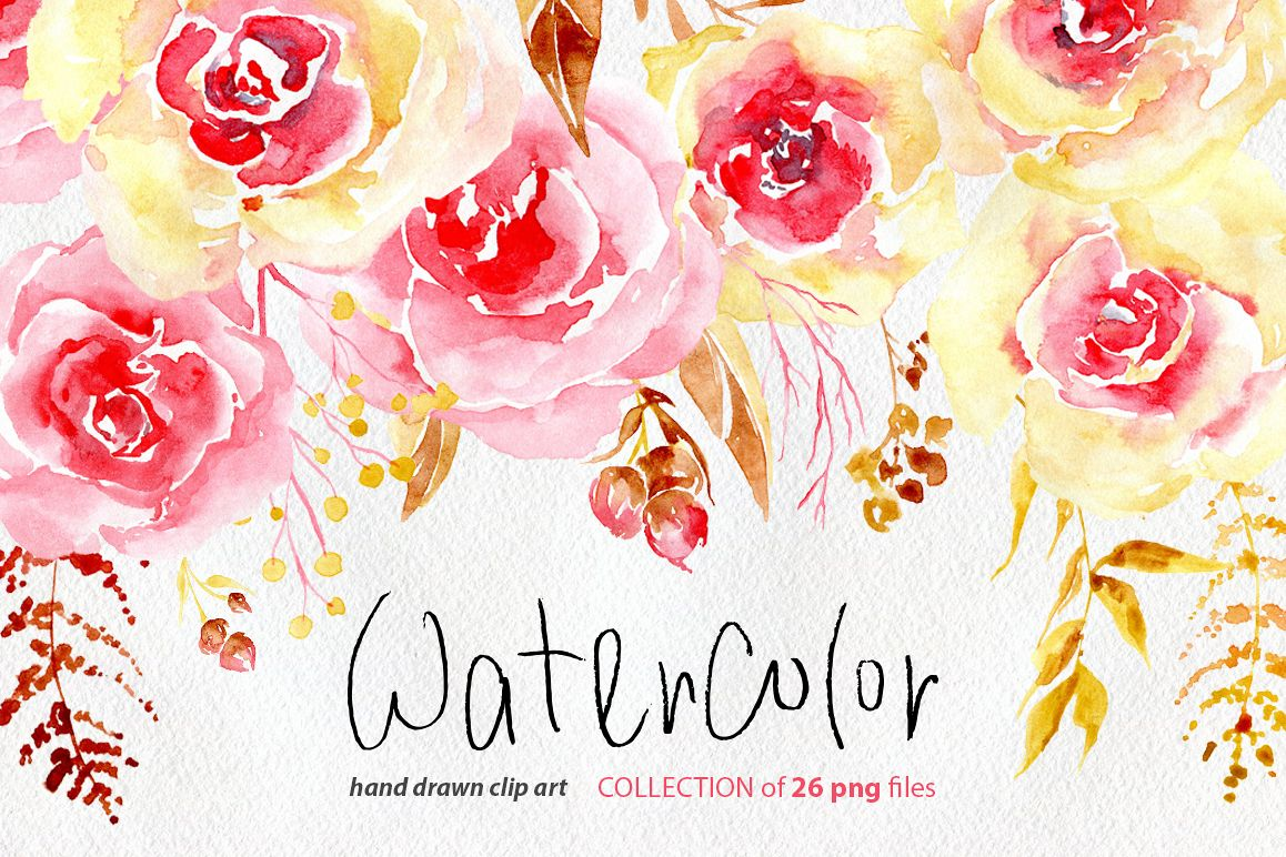 Watercolor Flowers Yellow Pink Png