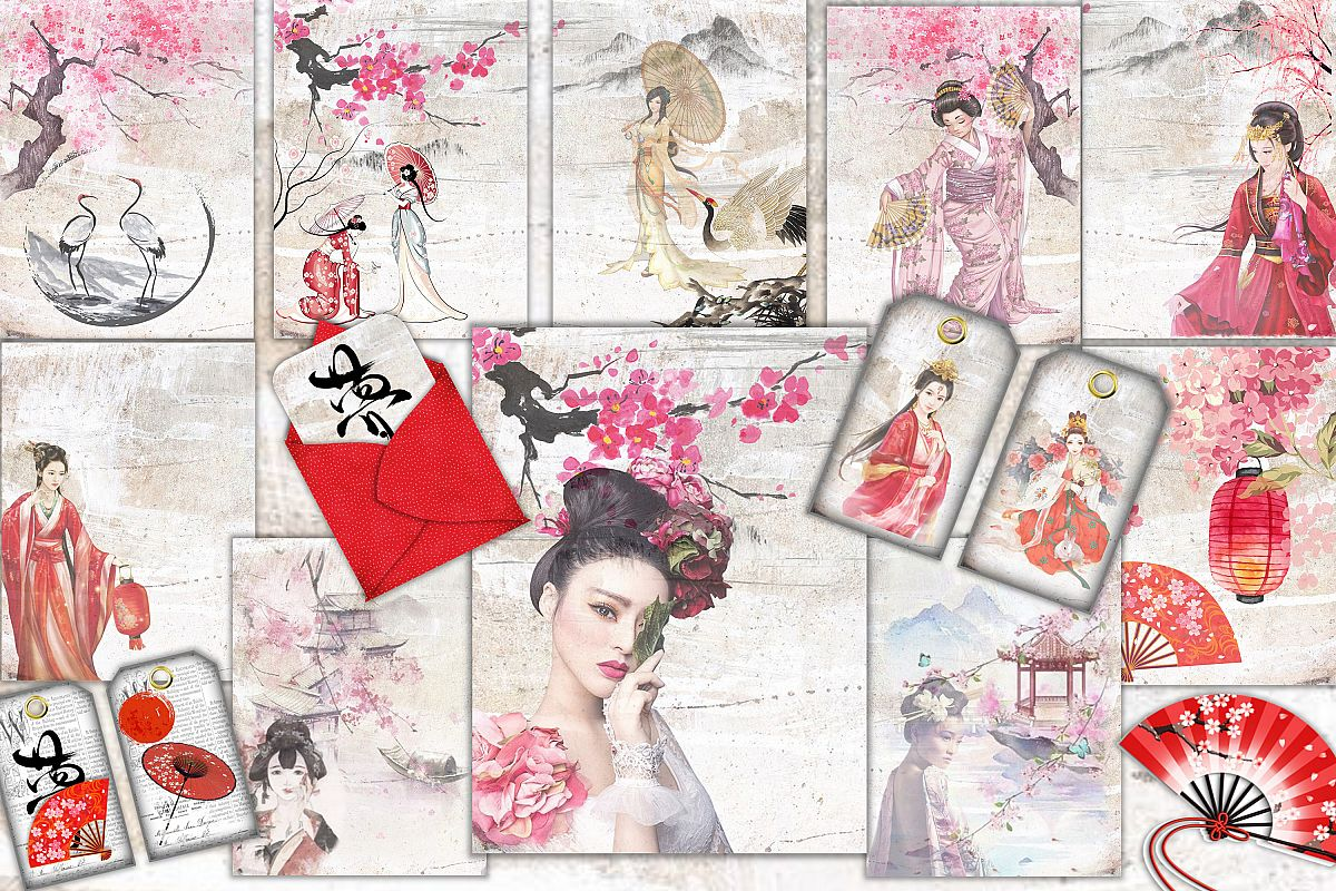 Japanese Journaling Kit with free clipart Commercial use