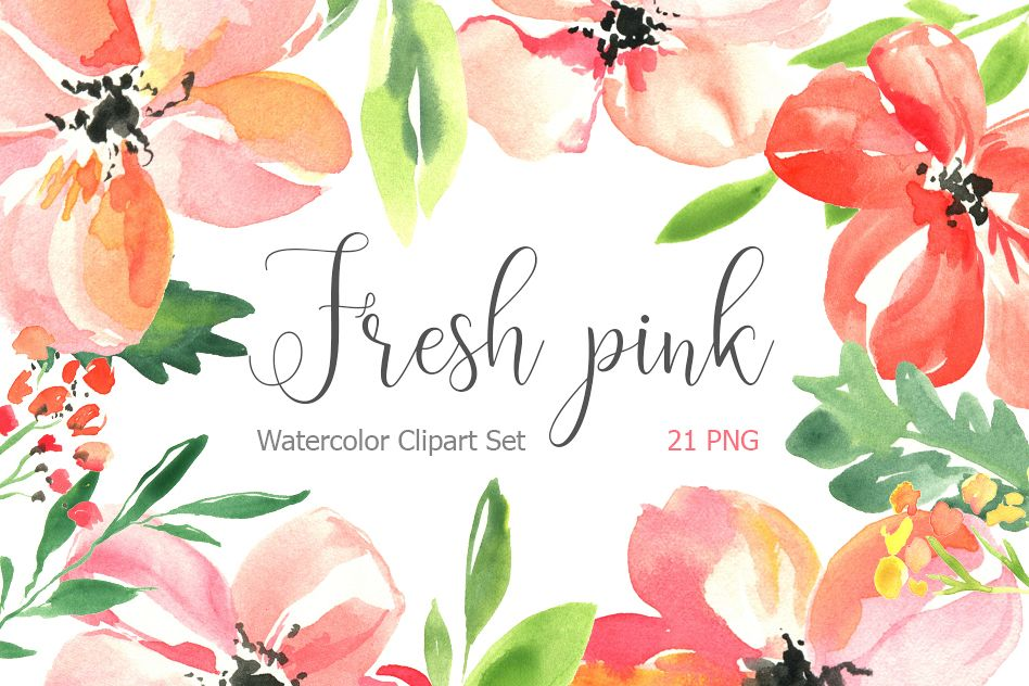 Fresh pink watercolor flowers set example image 1