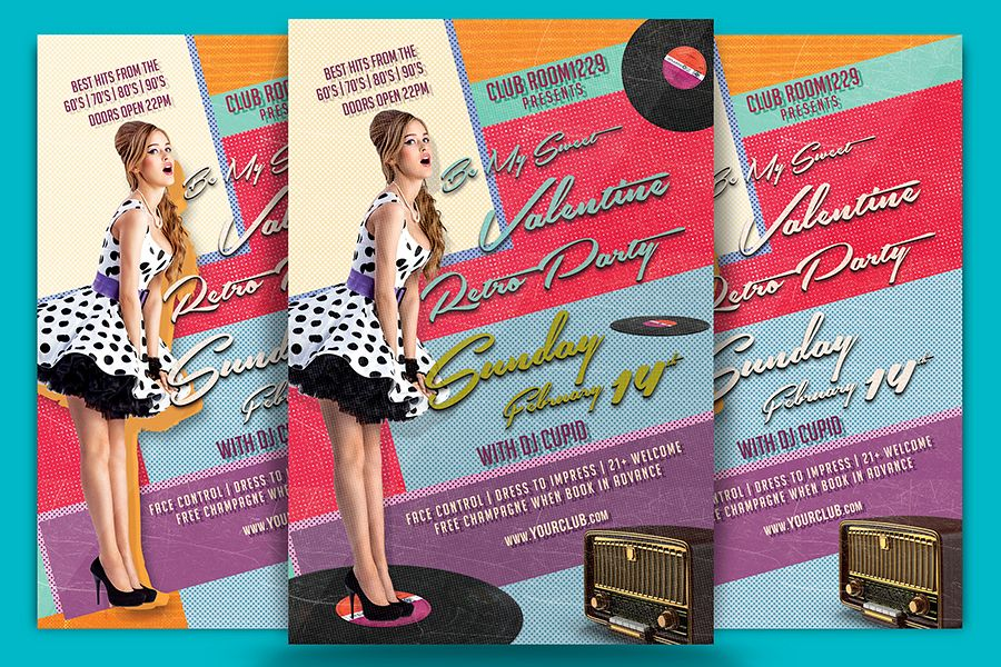 Valentine Day Retro Party Flyer Template example image 1