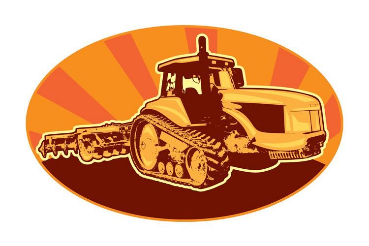 tractor mechanical digger excavator retro example image 1