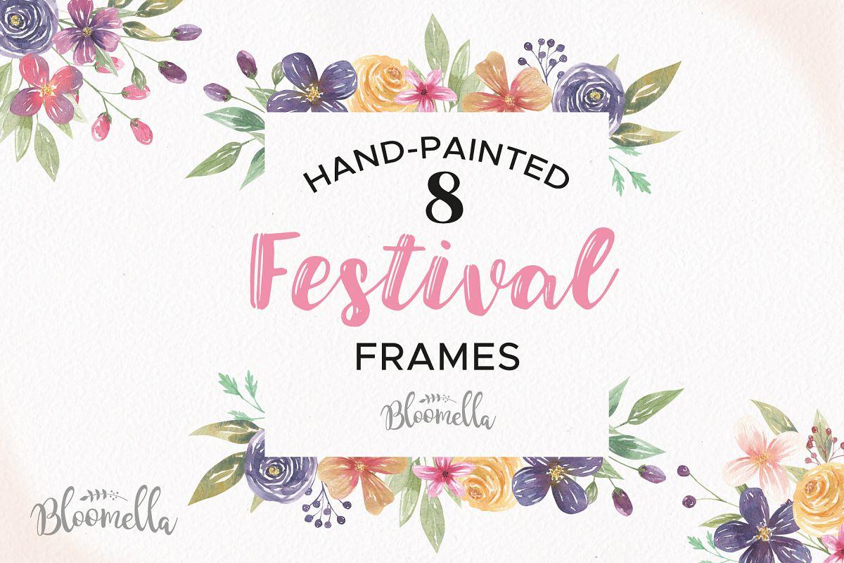 Festival Watercolor Clipart Frames Border Flowers Boho Pink Purple