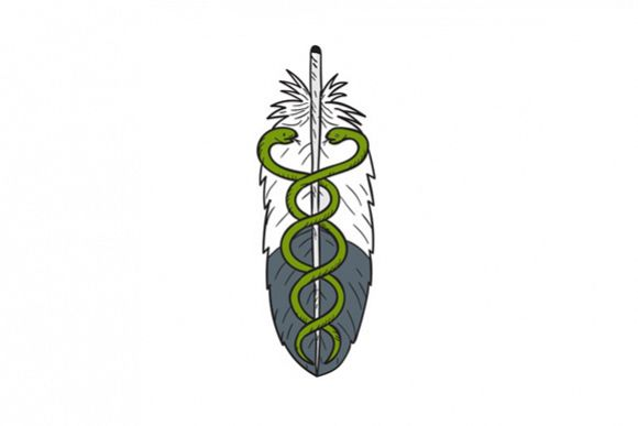 Medical Snake Eagle Feather Drawing example image 1