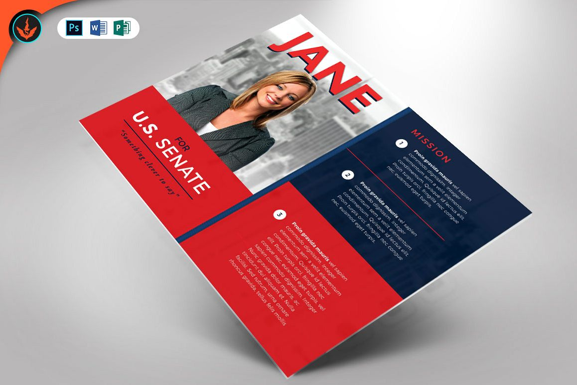 Political Flyer Photoshop, Word, Publisher Template 3 example image 1