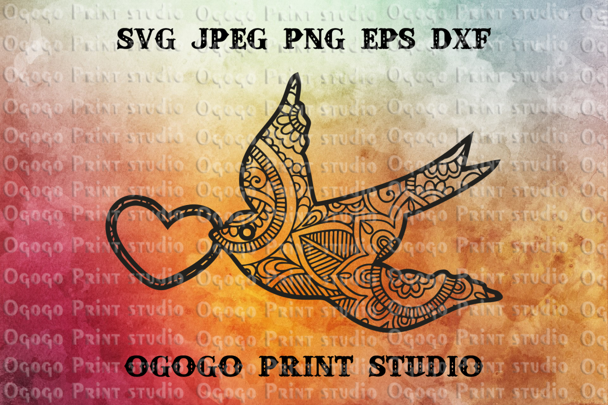 Bird svg, Mandala svg, Valentines day svg, Zentangle SVG example image 1
