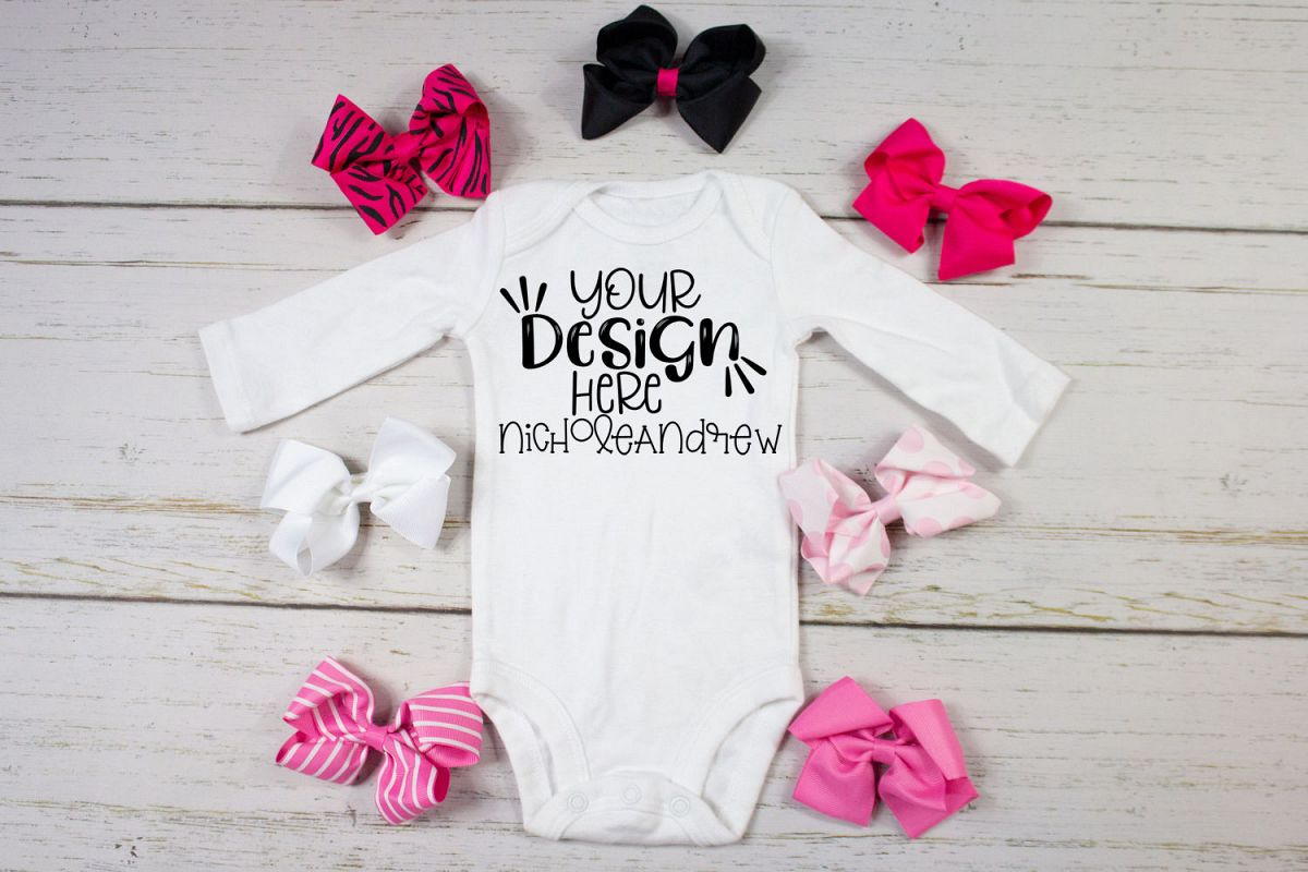 Baby Girl Bodysuit With Bows Mock Up example image 1