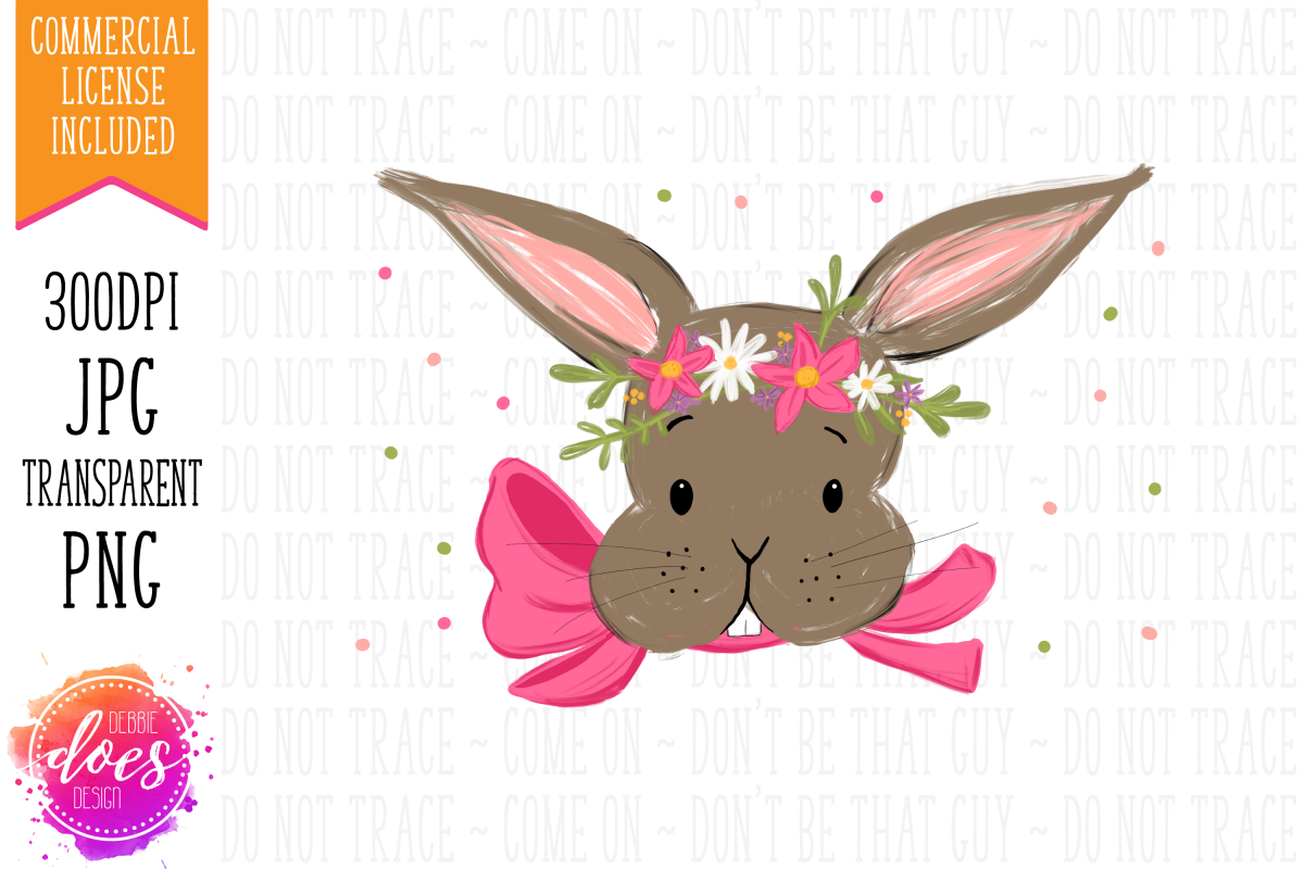 Easter Bunny with Pink Bow and Flowers - Printable Design example image 1