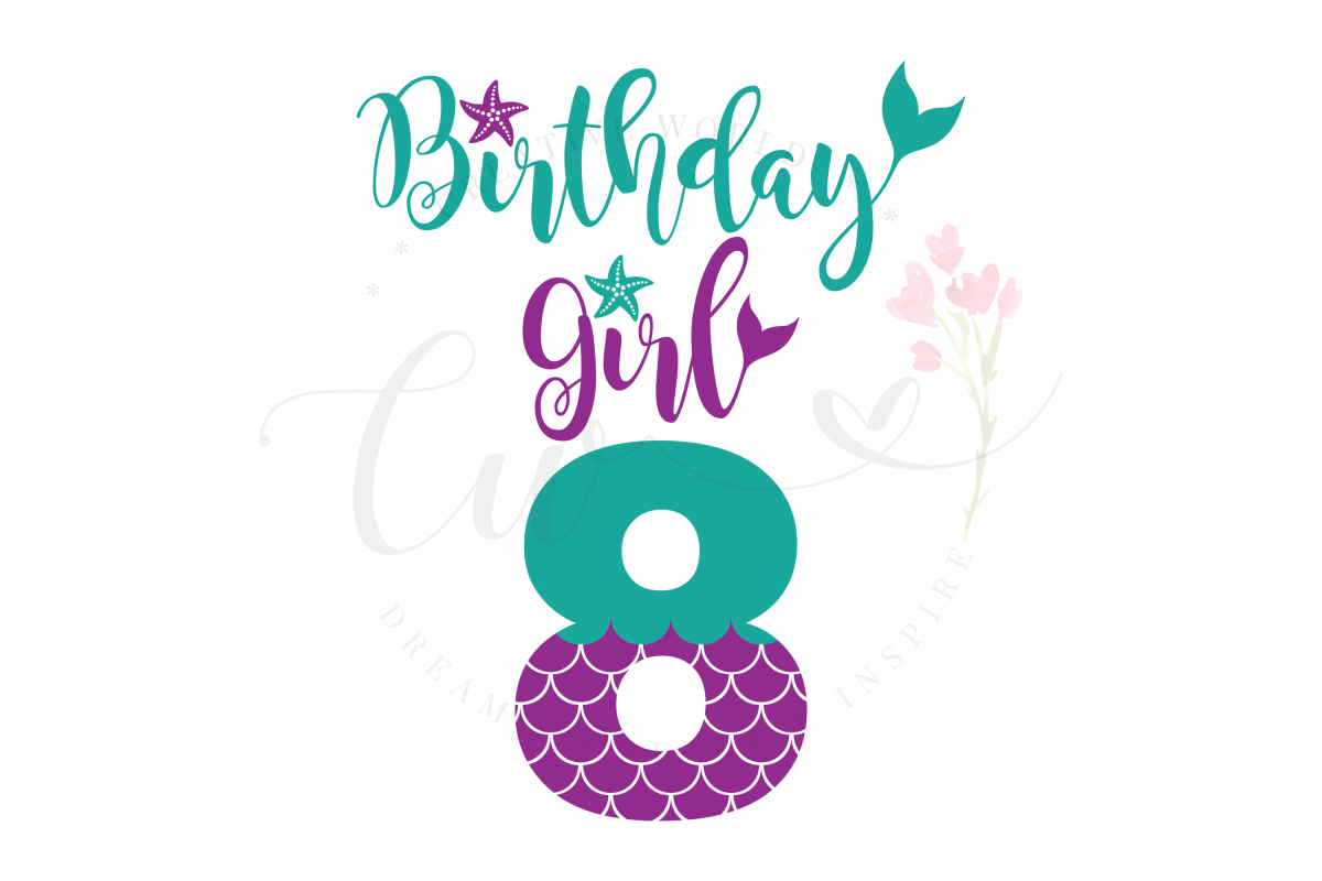 My 8th Birthday Mermaid SVG | Mermaid Birthday Girl svg example image 1