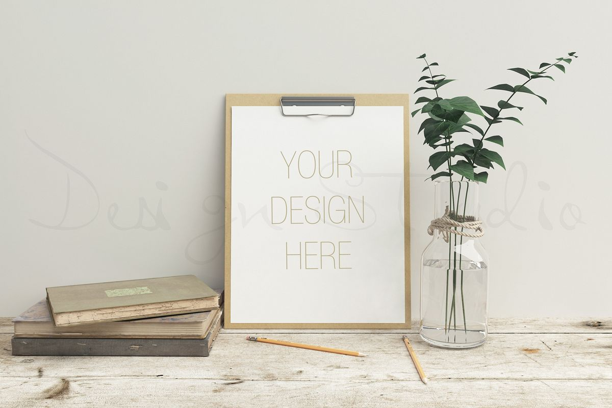 Stationery mockup, Smart object PSD file , wooden desk mockup, 8x10 art template example image 1