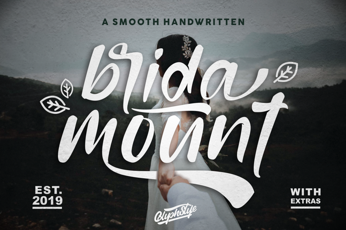 bridamount - a Smooth Handwritten font with extras example image 1