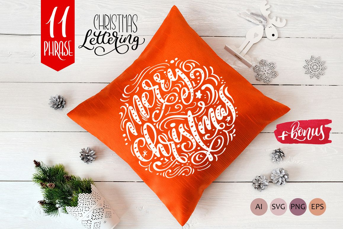 Christmas Lettering Phrases svg example image 1