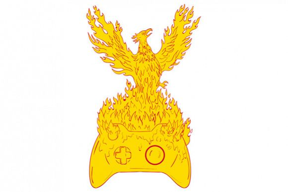 Phoenix Rising Fiery Flames Over Game Controller Drawing example image 1
