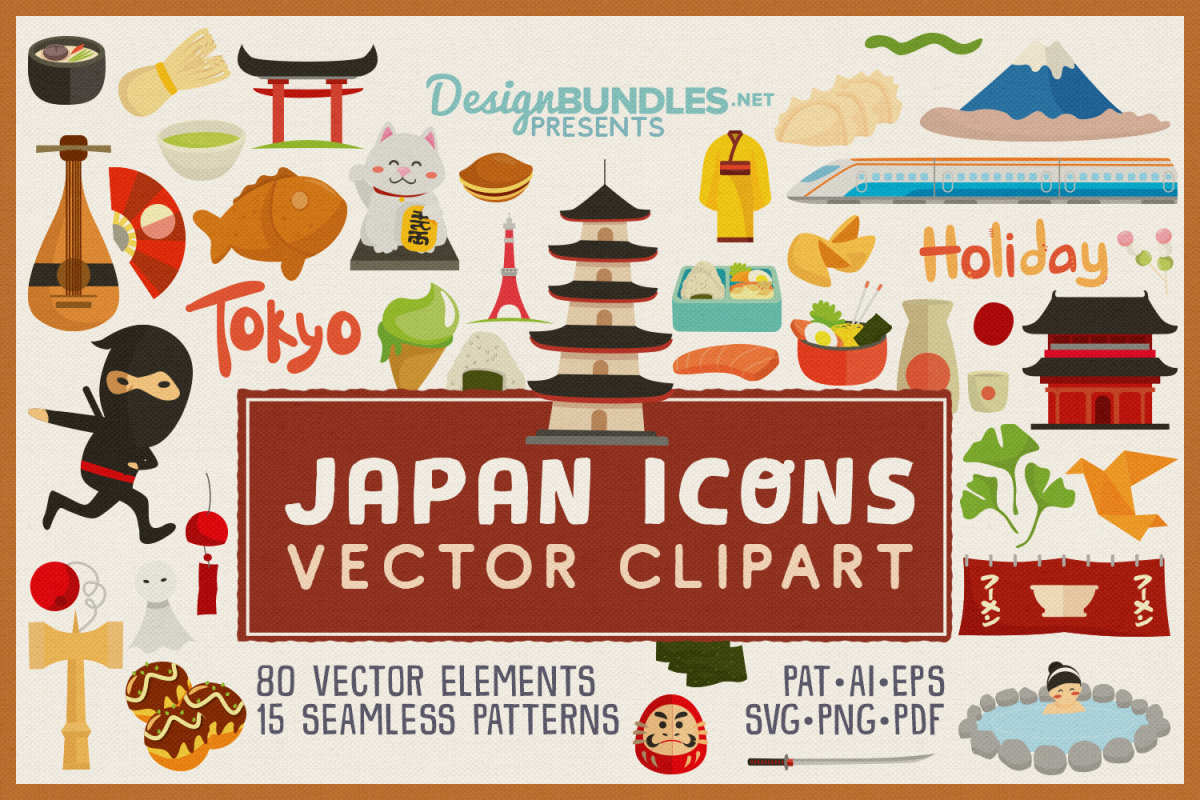 80 Japan Icon Vector Clipart & Seamless Patterns example image 1