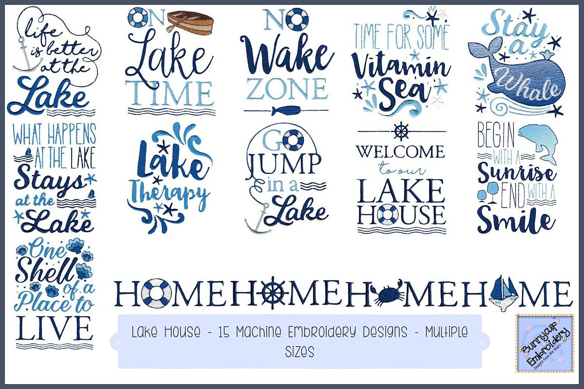Lake House - 15 Machine Embroidery Designs example image 1