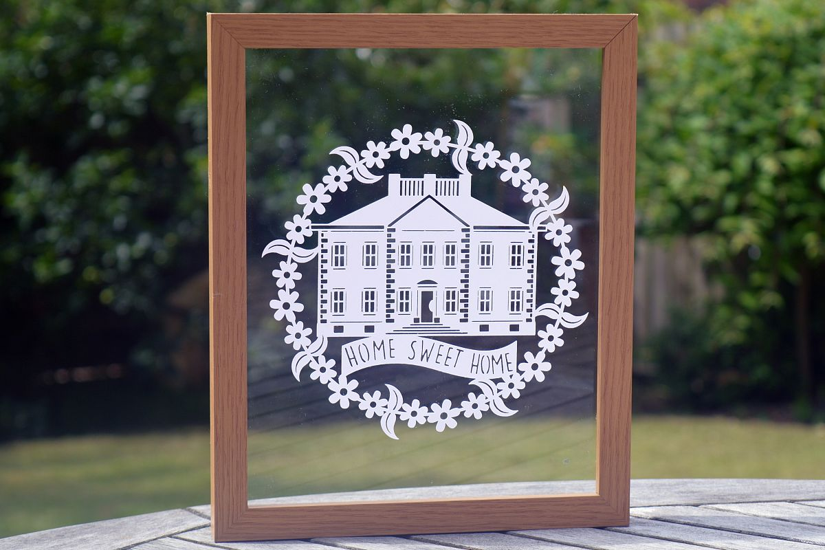 Home Sweet Home Paper Cut SVG  DXF EPS Files example image 1
