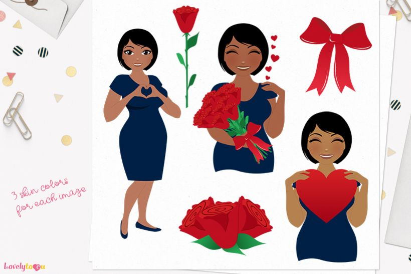 Valentine woman character clip art L370 Oona example image 1