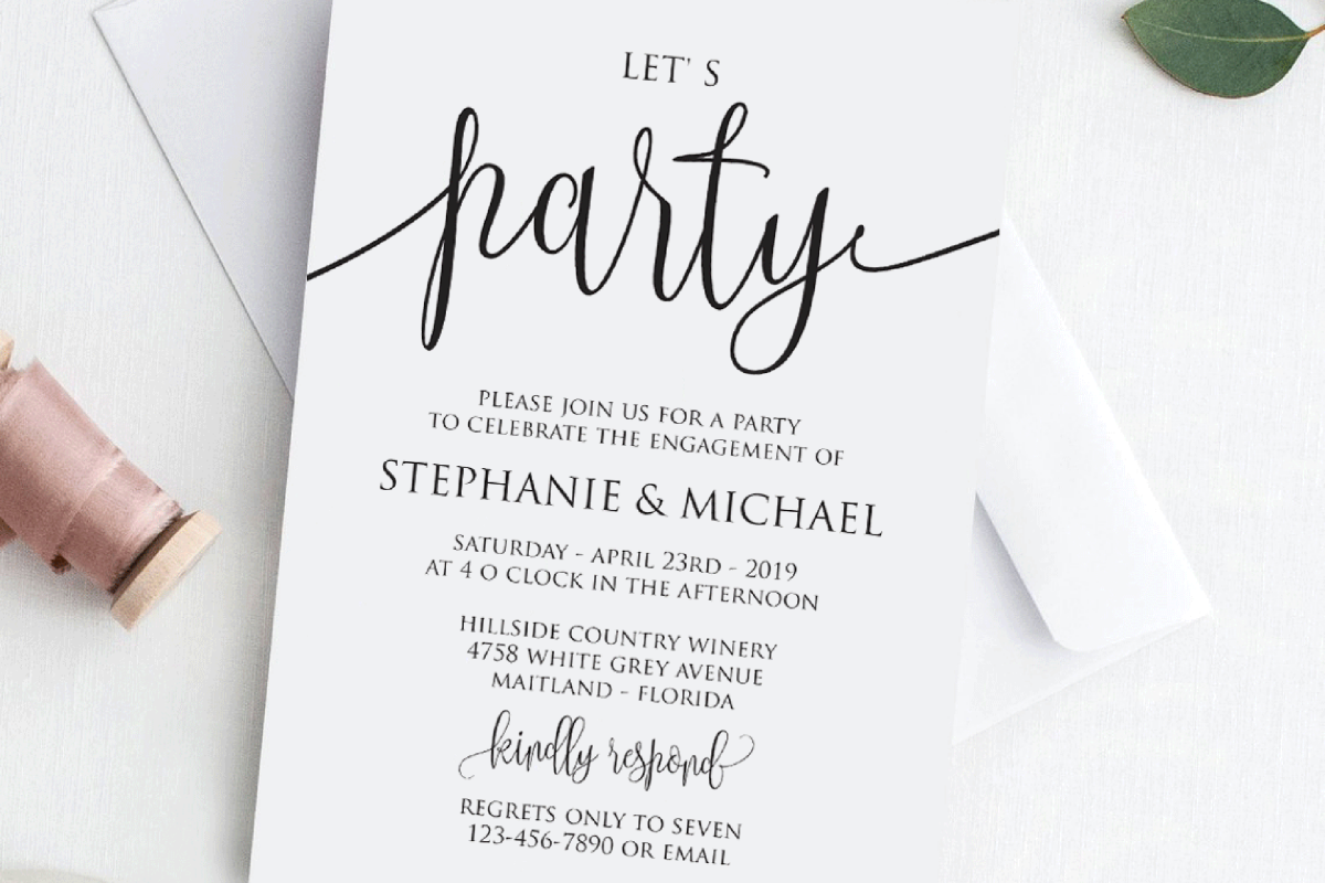 Lets Party Modern Engagement Party Invitation Template