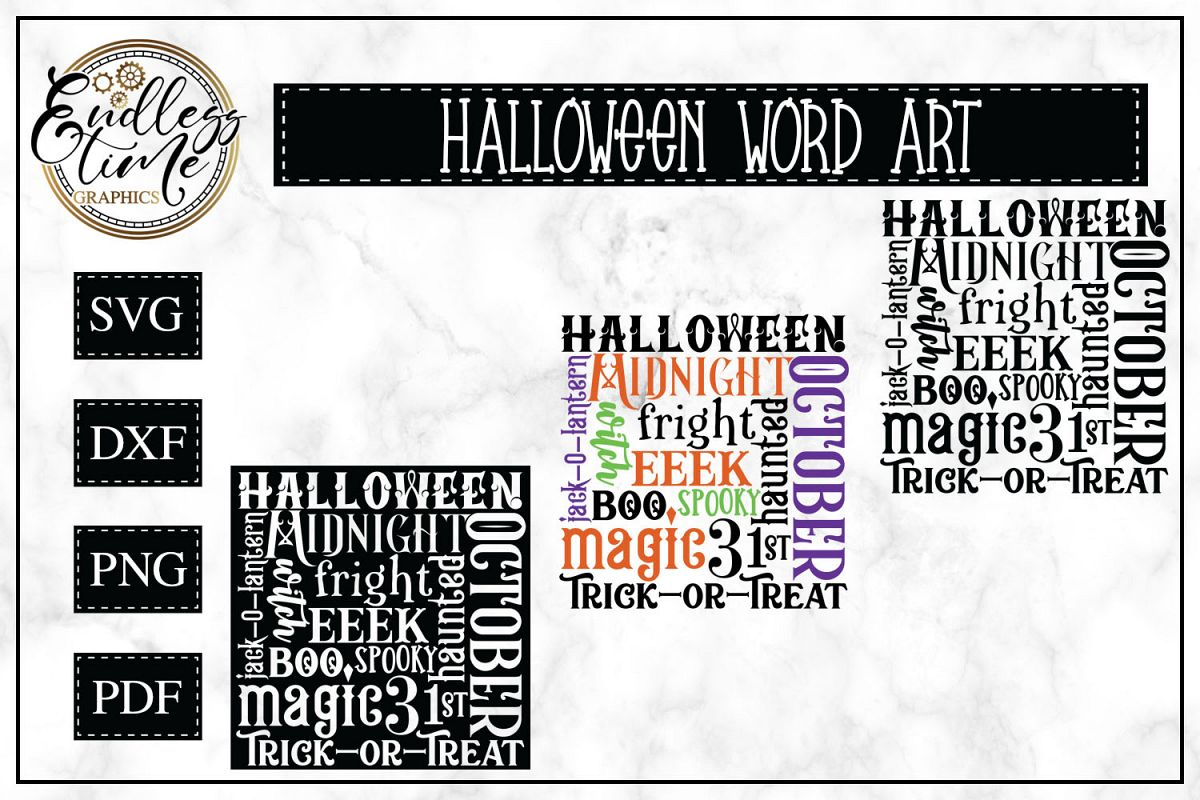 Halloween Word Art SVG For Trick or Treat Bags example image 1