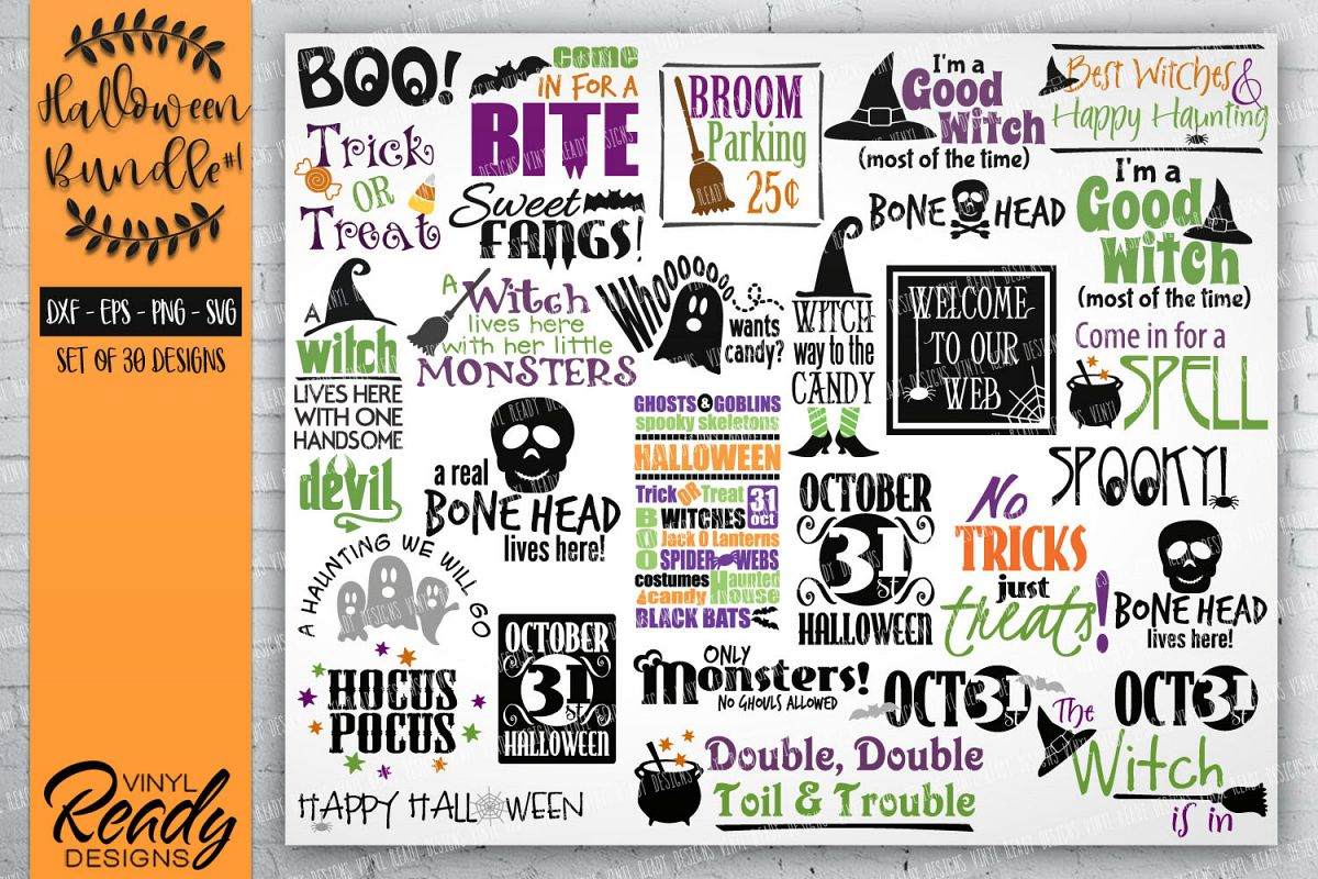 Halloween Bundle #1- 30 designs - Vector Clip Art File example image 1