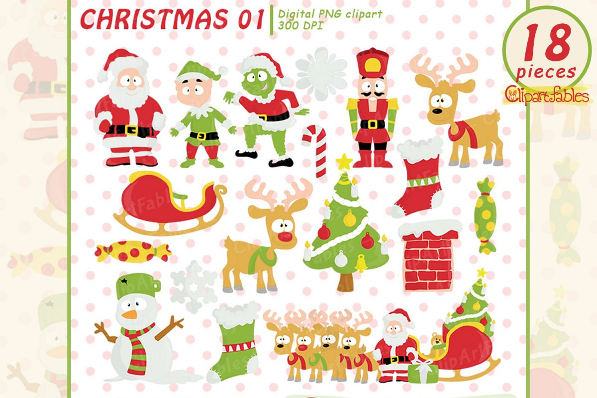 Christmas Clipart, Cute Santa and Elf art - INSTANT download example image 1