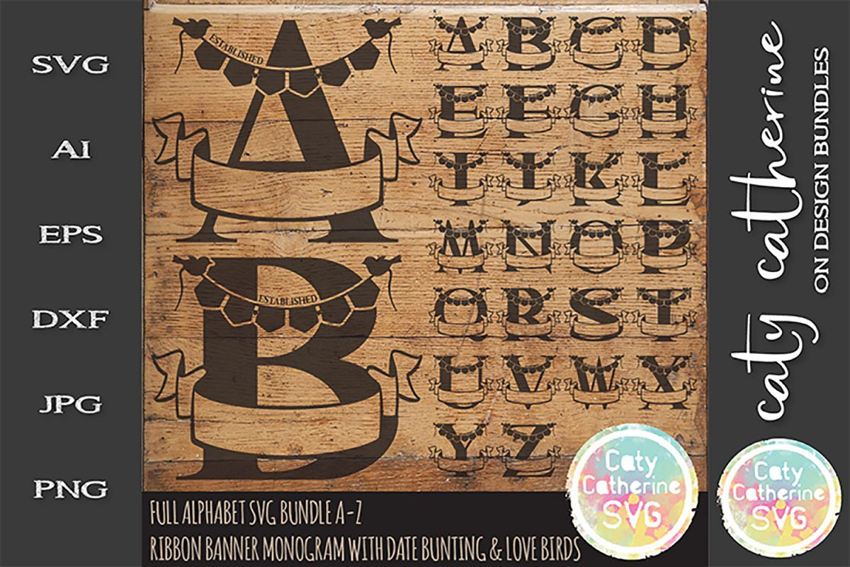 Ribbon Banner Monograms With Date Bunting & Love SVG example image 1