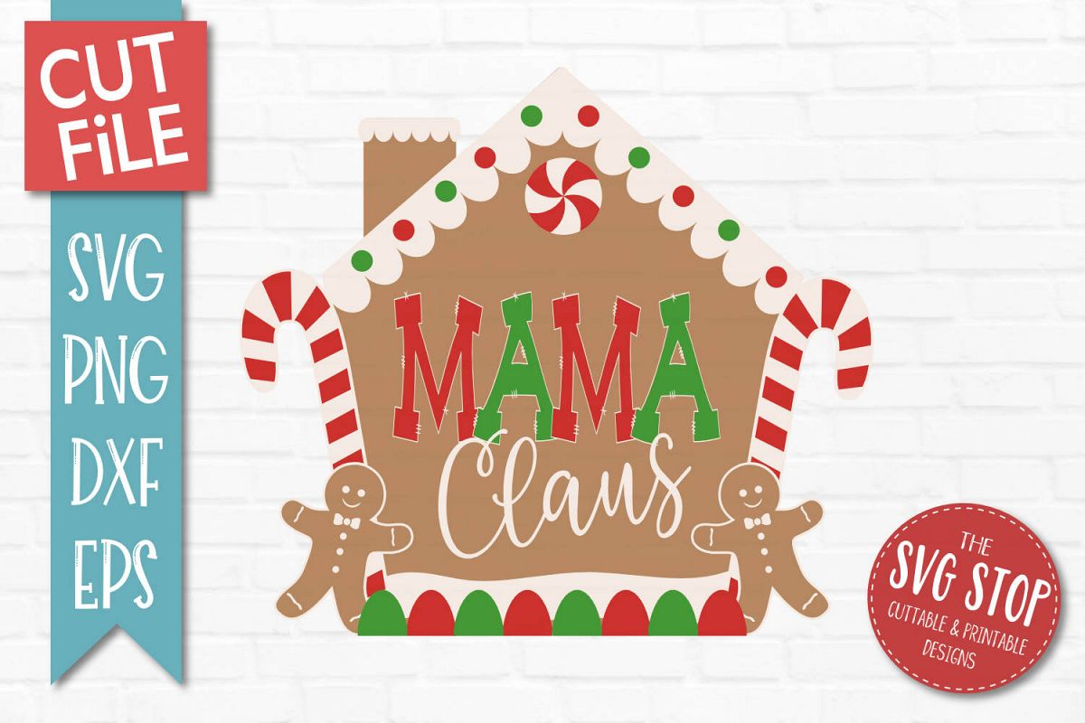 Mama Claus Gingerbread Christmas SVG, PNG, DXF, EPS example image 1