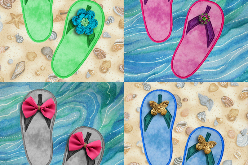 b136259deec6 Summer Flip Flops Applique Embroidery example image 1
