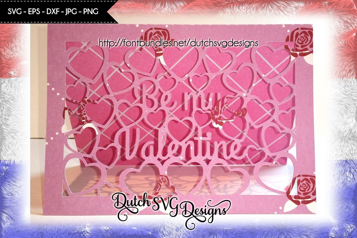 Valentine Card Cutting File Be My Valentine With Cutout Hearts Jpg