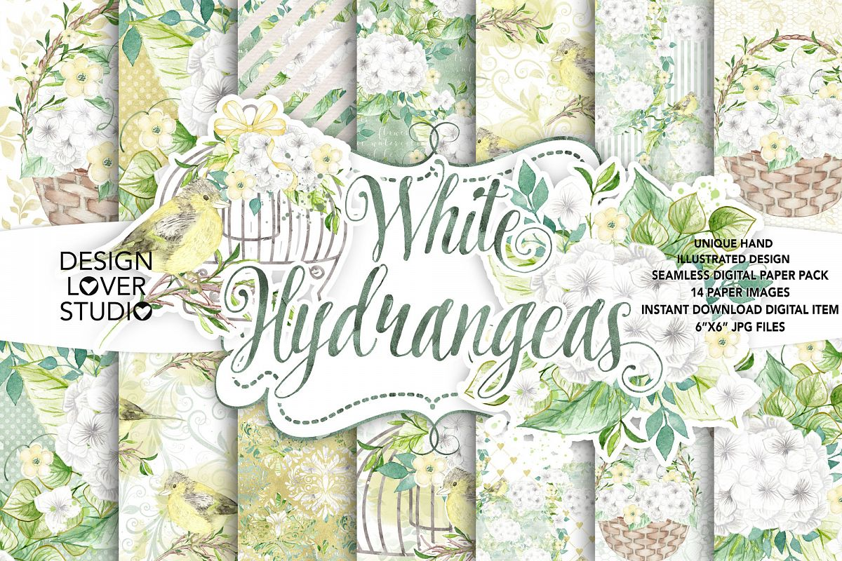 Watercolor White Hydrangea digital paper pack example image 1