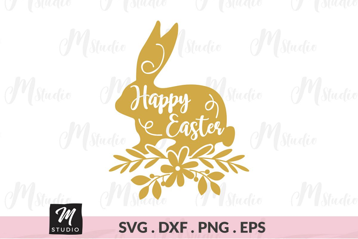 Happy Easter Bunny svg. example image 1