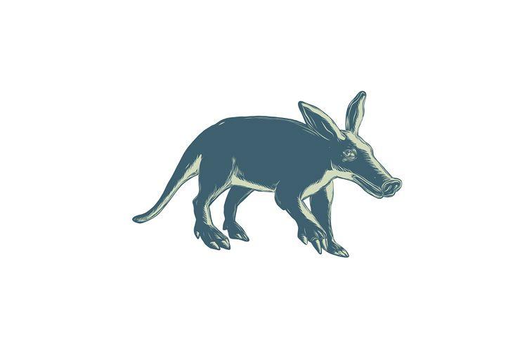 Aardvark Scratchboard Style example image 1