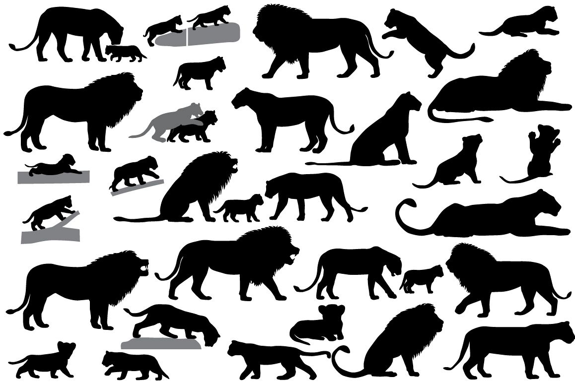 Silhouettes of lions and lion cubs example image 1